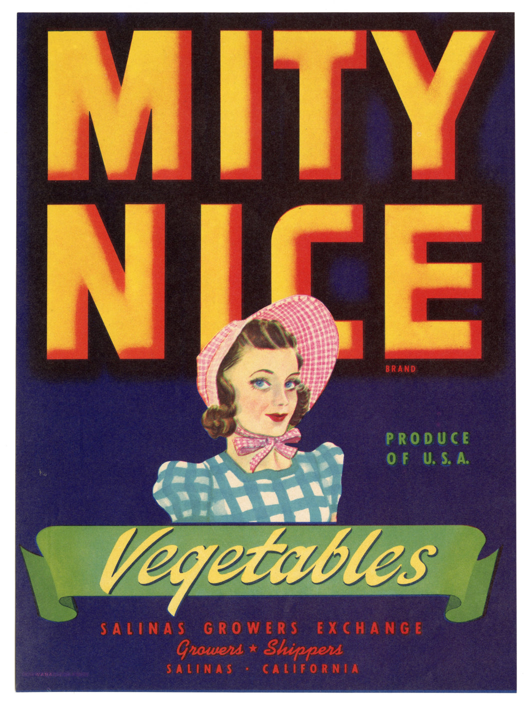 Vintage, Unused MITY NICE Vegetable Crate Label || Salinas, Ca.