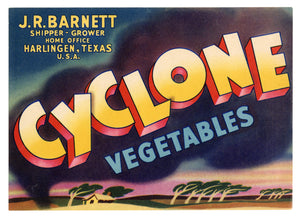 Vintage, Unused CYCLONE Vegetable Crate Label || Harlingen, Texas