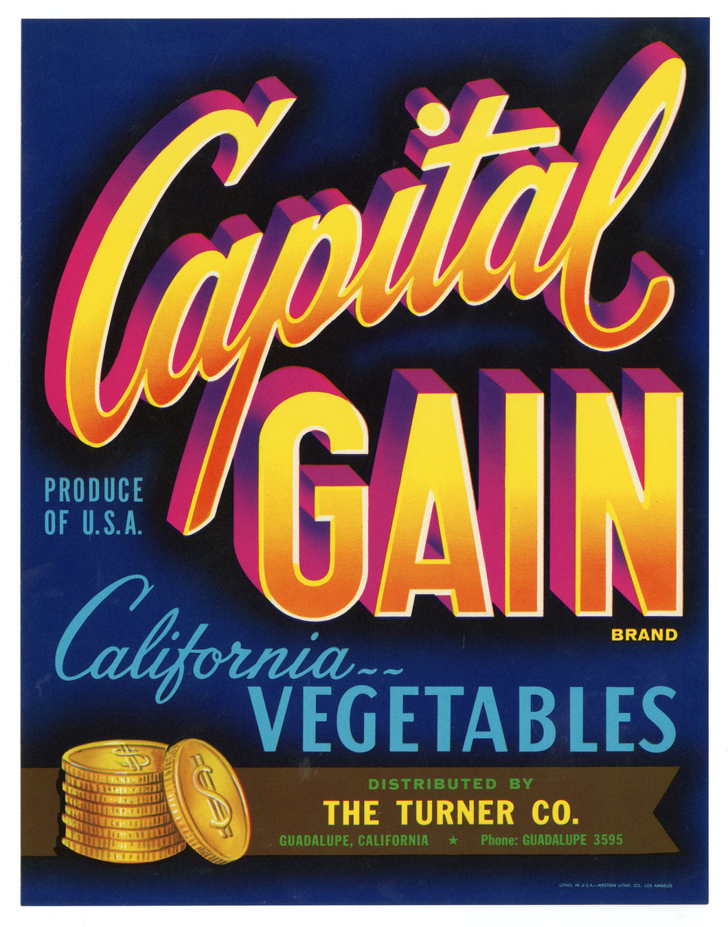 Vintage, Unused CAPITAL GAIN Vegetable Crate Label || Guadalupe, Ca.