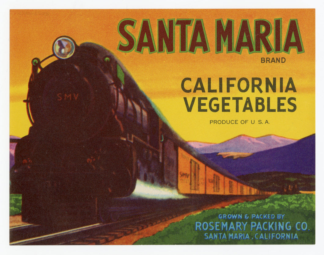 Vintage, Unused SANTA MARIA Vegetable Crate Label || Santa Maria, Ca.