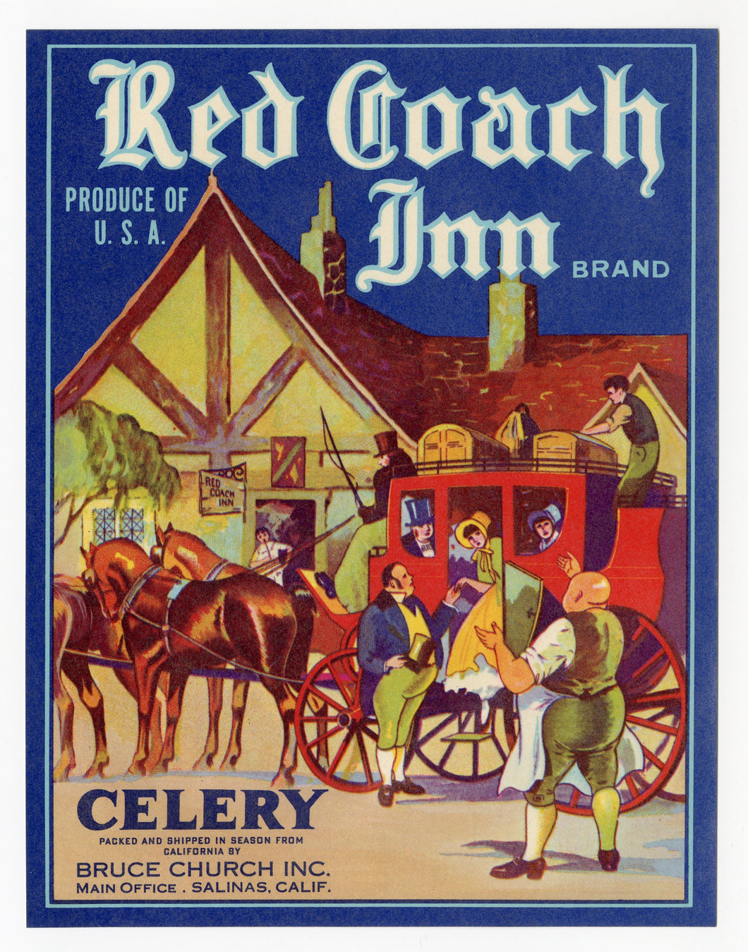 Vintage, Unused Red Coach Inn Celery, Vegetable Crate Label
