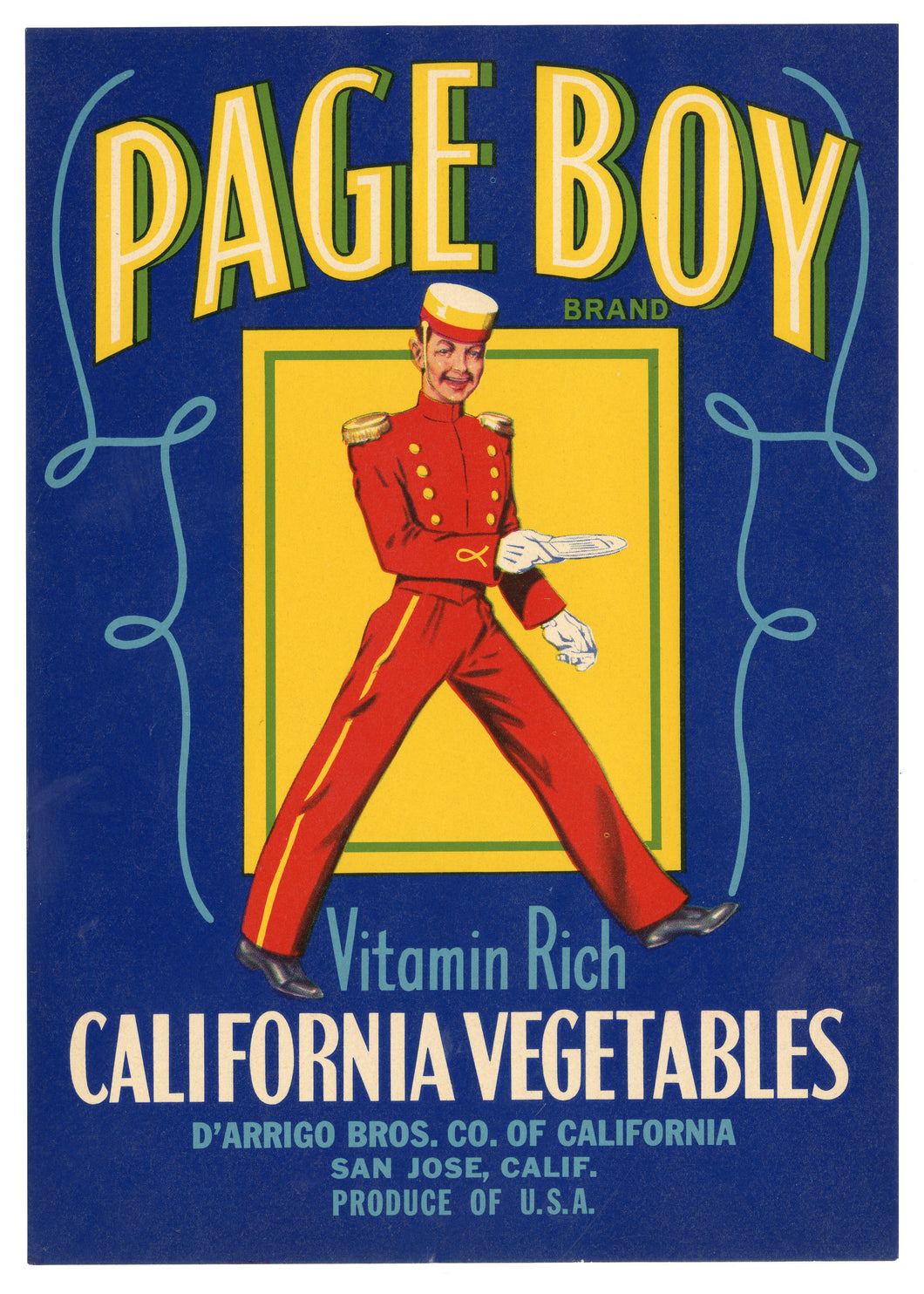 Vintage, Unused PAGE BOY Vegetable Crate Label || San Jose, CA.