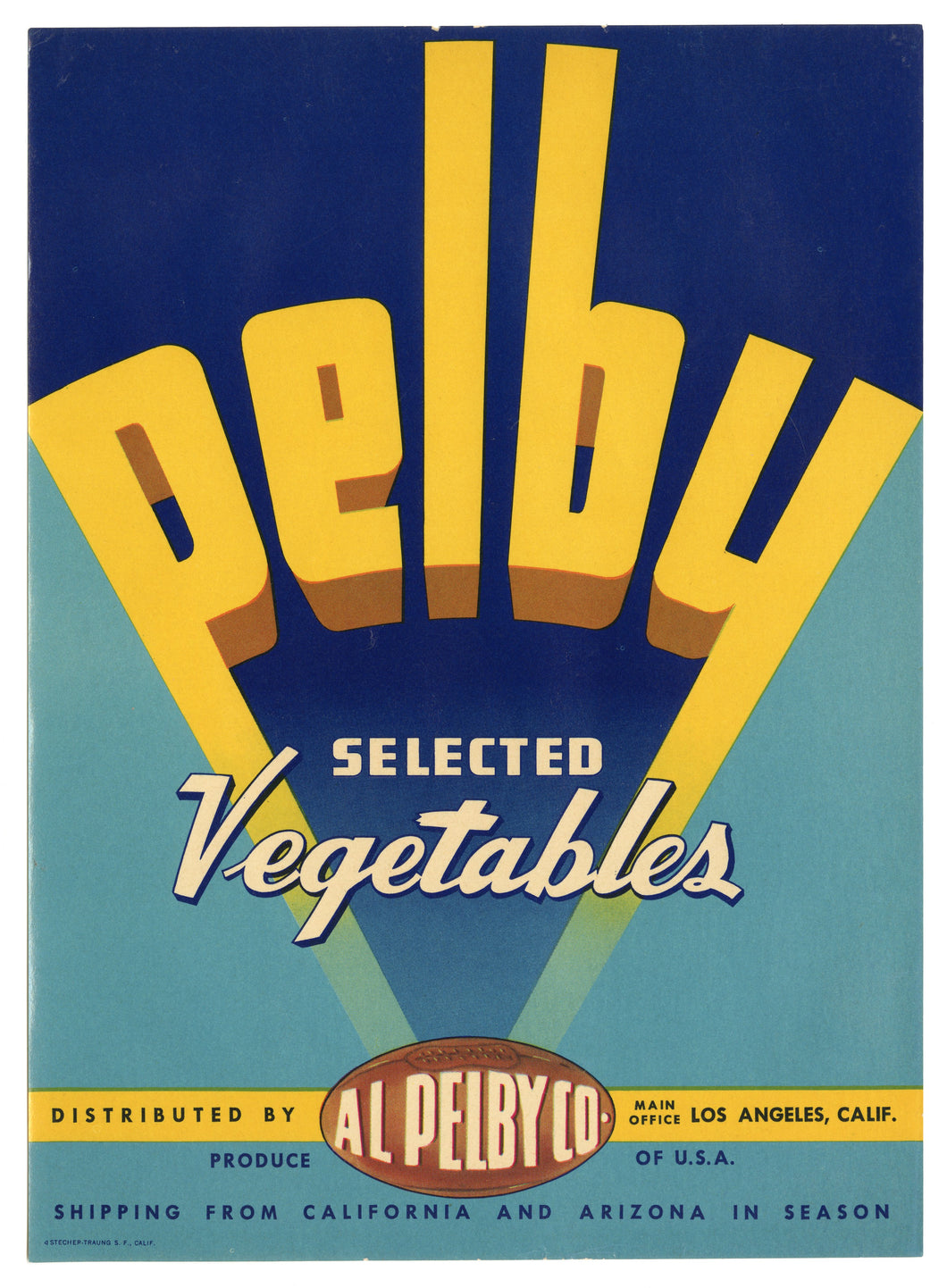 Vintage, Unused PELBY Vegetable Crate Label || Los Angeles, Ca.