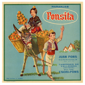 Vintage, Unused Spanish PONSITA Oranges Fruit Crate Label