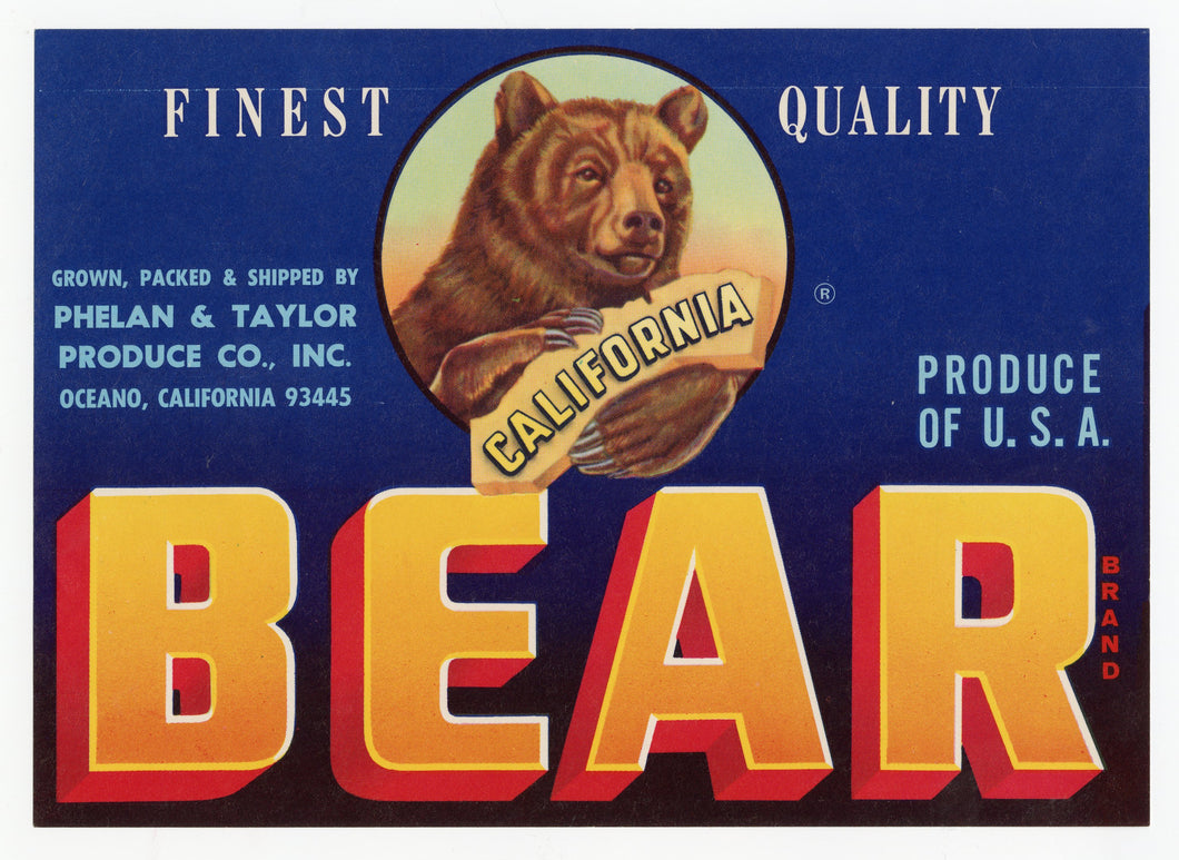Vintage, Unused BEAR Brand Vegetable Crate Label || Oceano, Ca.