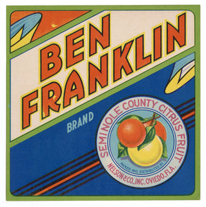 Vintage, Unused BEN FRANKLIN Brand Citrus Label || Oviedo, Fla.