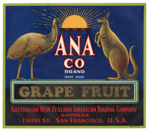 Vintage, Unused ANA Co. Brand Grapefruit Label, Emu, Kangaroo || San Francisco, Ca.