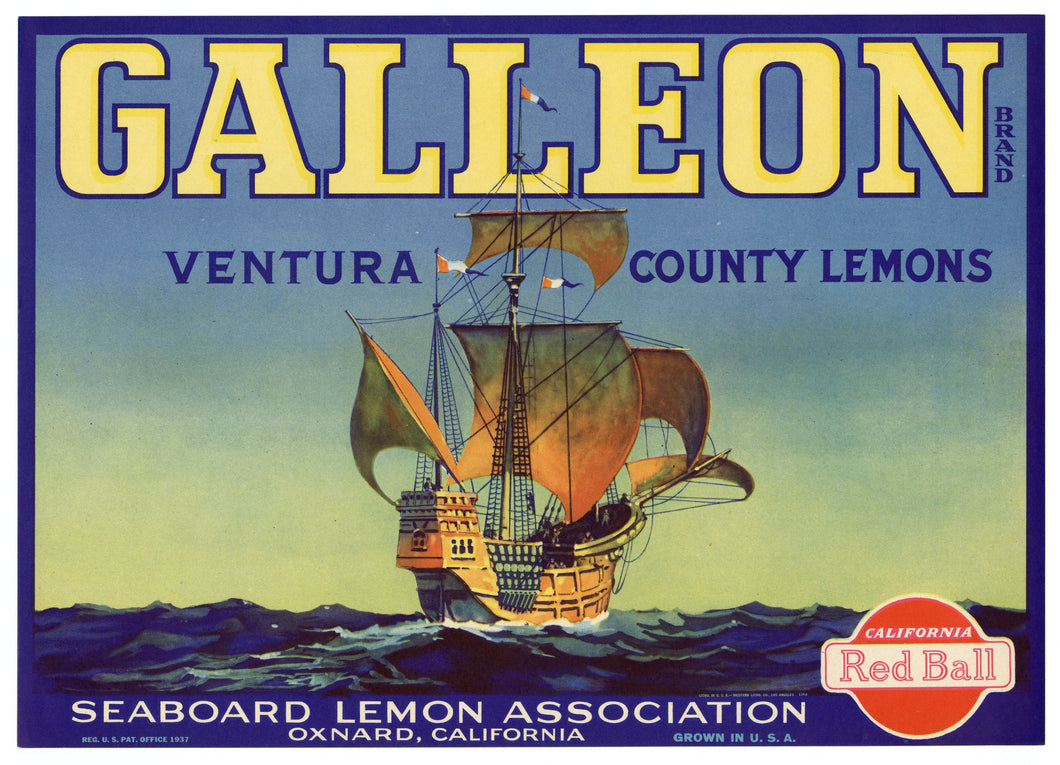 Vintage, Unused CUTTER Brand Lemon Fruit Crate Label || Oxnard, Ca.