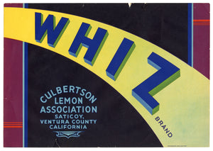 Vintage, Unused WHIZ Brand Lemon Fruit Crate Label || Saticoy, Ca.