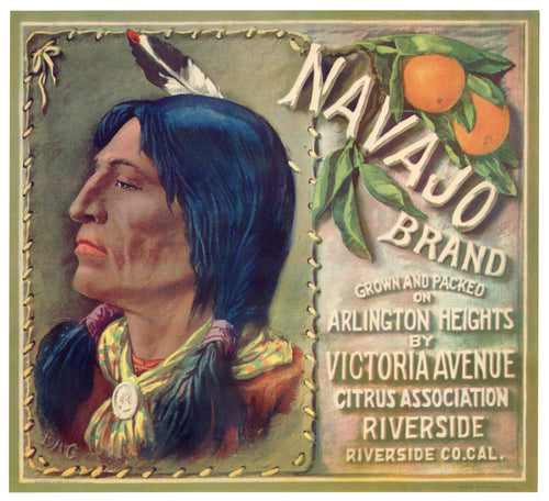 Vintage, Unused NAVAJO BRAND Orange, Citrus Fruit Crate Label || Riverside, Ca.
