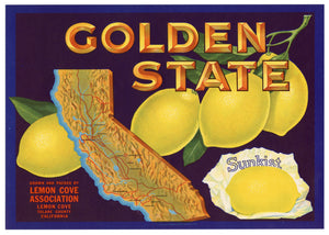 Vintage, Unused GOLDEN STATE Lemon Fruit Crate Label || Lemon Cove, Tulare Ca.