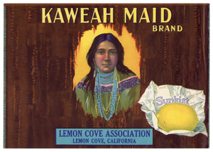 Vintage, Unused KAWEAH MAID Lemon Fruit Label || Lemon Cove, Ca.