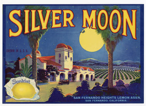 Vintage, Unused SILVER MOON Lemon Fruit Crate Label || San Fernando, Ca.