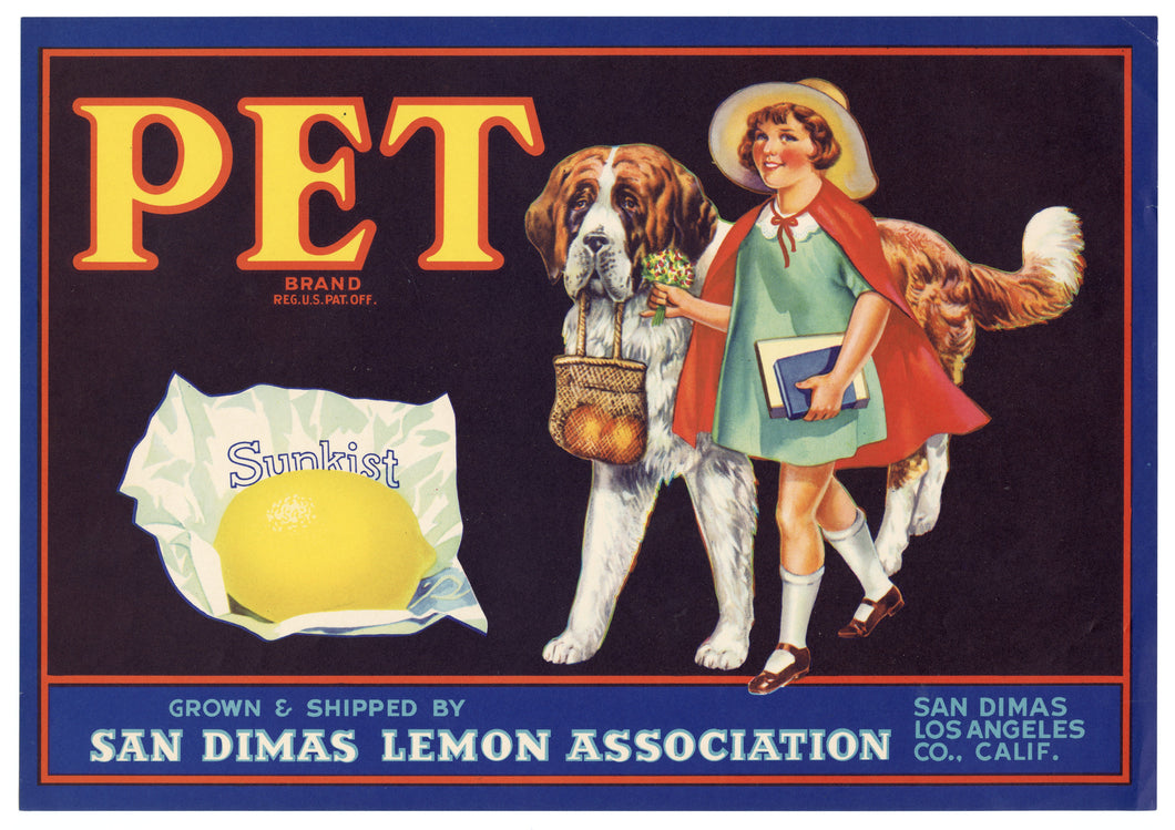 Vintage, Unused PET Lemon Fruit Crate Label || San Dimas, Los Angeles, Ca.