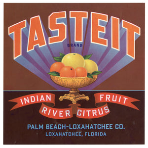 Vintage, Unused TASTE IT Citrus Fruit Crate Label || Palm Beach, Loxahatchee, Florida