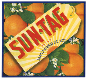 Vintage, Unused SUN-TAG Citrus Fruit Crate Label || Placentia, Ca.