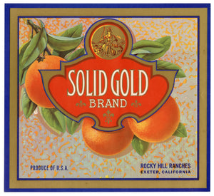 Vintage, Unused SOLID GOLD Brand Orange Fruit Crate Label || Exeter, Ca.