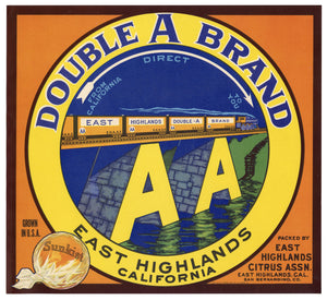 Vintage, Unused DOUBLE A Brand  Citrus Fruit Crate Label || East Highlands, Ca.