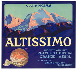 Vintage, Unused ALTISSIMO Orange Fruit Crate Label || Placentia, Orange Co, Ca.