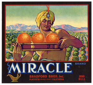 Vintage, Unused MIRACLE Brand Orange Crate Label || Placentia, Orange Co., Ca.