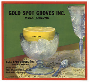Vintage, Unused GOLD SPOT GROVES Lemon Crate Label || Mesa, Phoenix, Arizona