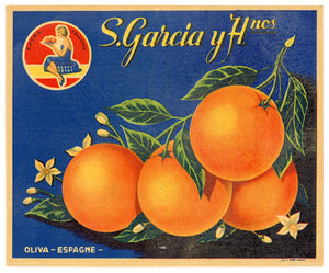 Vintage, Unused S. GARCIA Orange, Fruit Crate Label || Oliva, Spain
