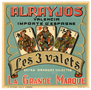 Vintage, Unused, French LES 3 VALETS Orange Fruit Crate Label, Imported from Valencia, Spain