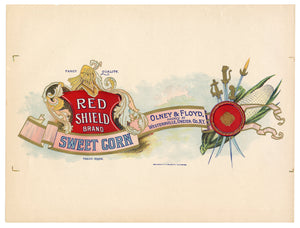 Vintage, Unused RED SHIELD Sweet Corn Can Label, Swords, Crest || Westernville, N.Y.