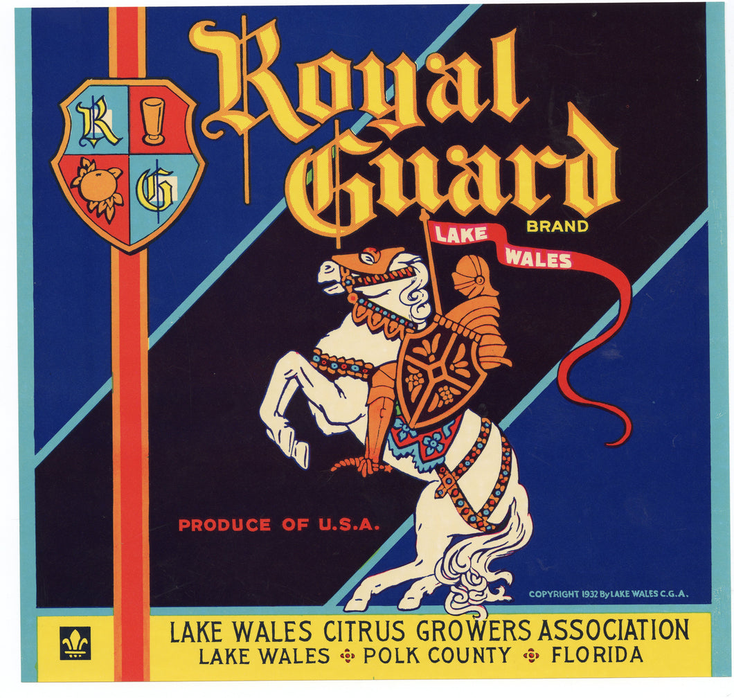 Vintage, Unused ROYAL GUARD Citrus Fruit Crate Label || Lake Wales,Polk Country, Florida