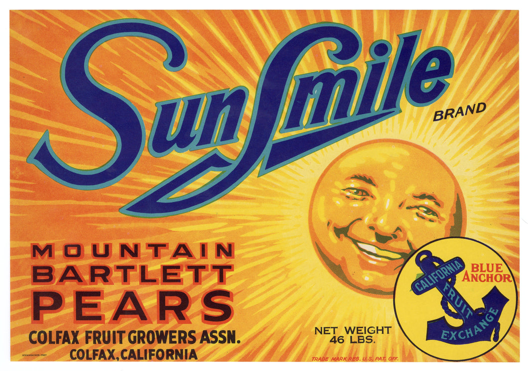 Vintage, Unused SUNSMILE Brand Pear, Fruit Crate Label || Colfax, Ca.
