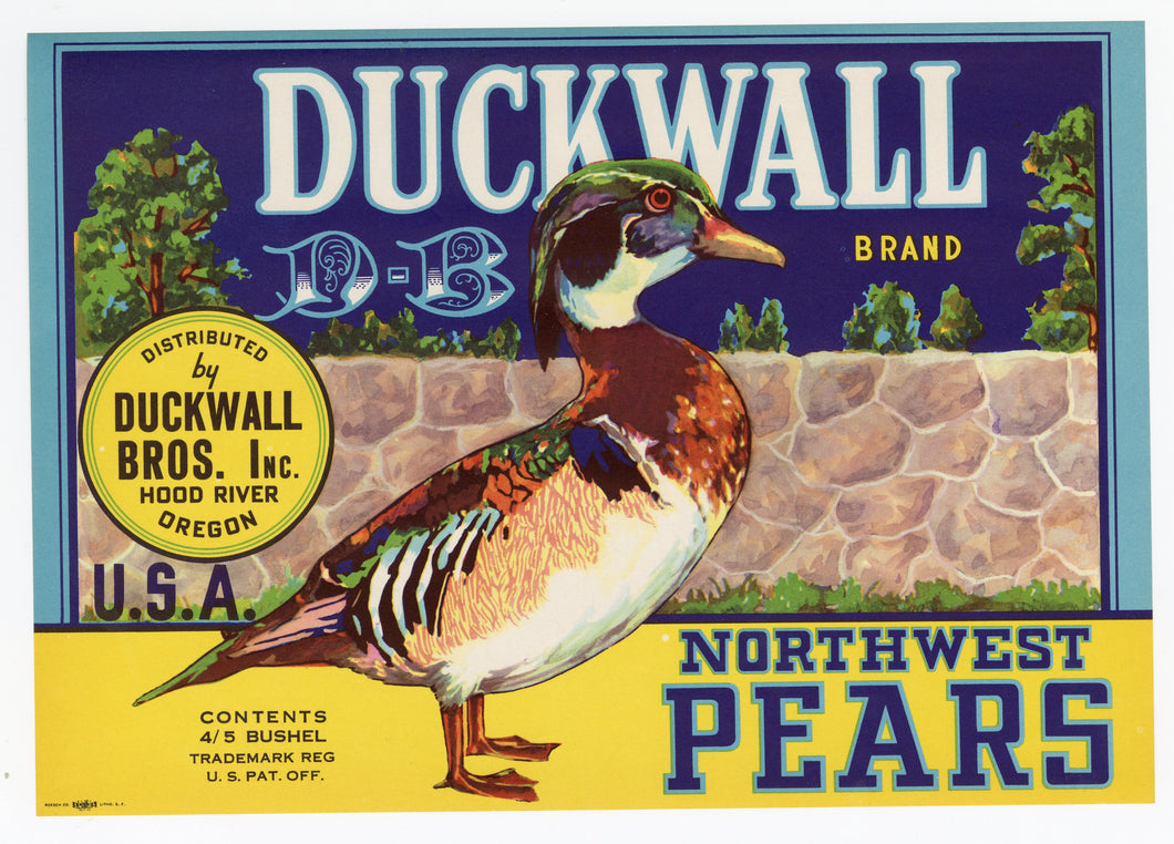 Vintage, Unused DUCKWALL Brand Pear, Fruit Crate Label || Hood River, Oregon
