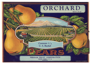 Vintage, Unused ORCHARD Brand Pear Fruit Crate Label || Yakima, Washington
