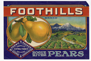 Vintage, Unused FOOTHILLS Pear, Fruit Crate Label || Rogue River Pears