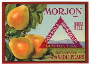 Vintage, Unused MORJON Brand Pear, Fruit Crate Label || Seattle, Washington