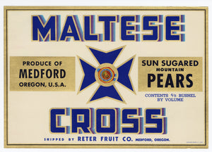 Vintage, Unused MALTESE CROSS Brand Pear, Fruit Crate Label || Medford, Oregon