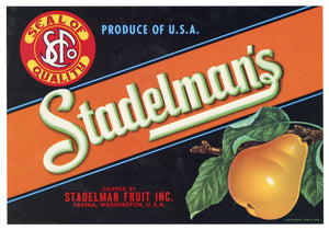 Vintage, Unused STADELMAN'S Brand Pear, Fruit Crate Label || Yakima, Washington