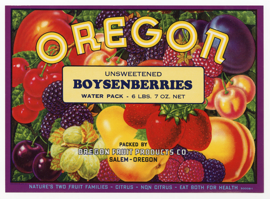 Vintage, Unused OREGON Boysenberry Fruit Crate Label || Salem, Oregon