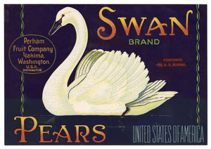 Vintage, Unused SWAN Brand Pear, Fruit Crate Label || Yakima, Washington