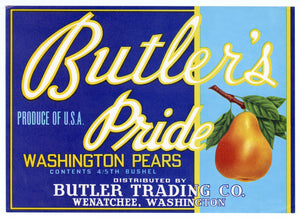 Vintage, Unused BUTLER'S PRIDE Pear, Fruit Crate Label || Wenatchee, Washington
