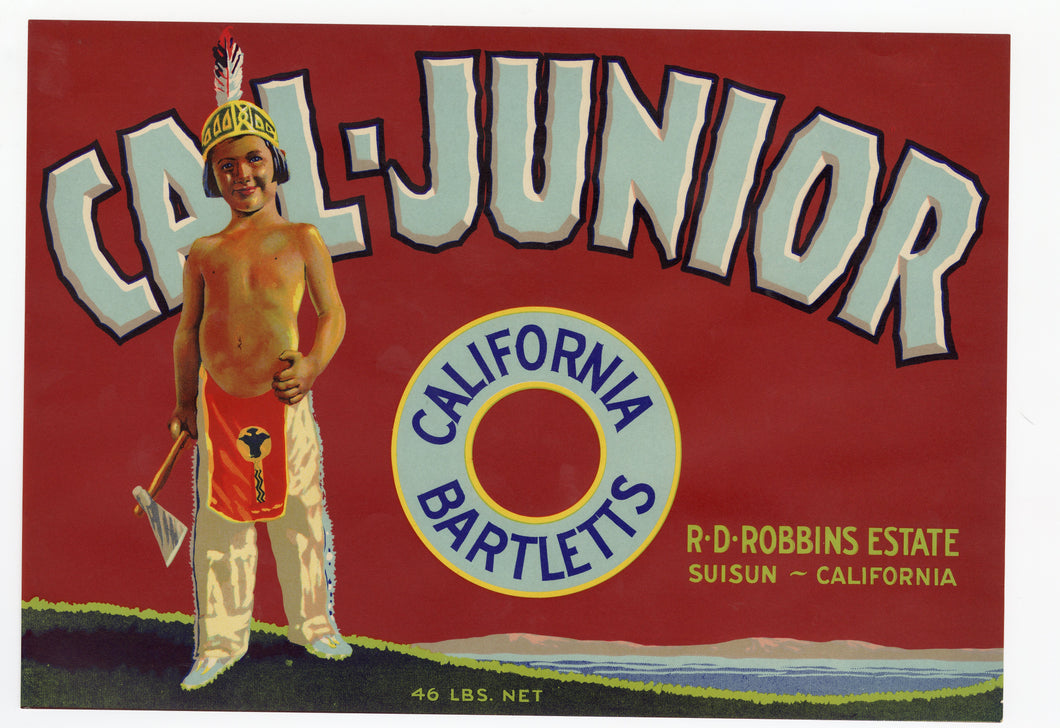 Vintage, Unused CAL-JUNIOR Pear Fruit Crate Label || Suisun, Ca.