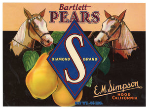 Vintage Unused S Brand Pear Fruit Crate Label, Horses || Hood, Ca.