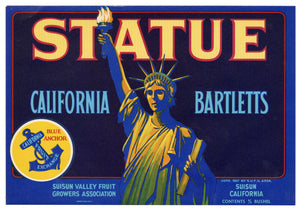 Vintage, Unused STATUE Of Liberty Brand Pear Fruit Crate Label || Suisun, Ca.