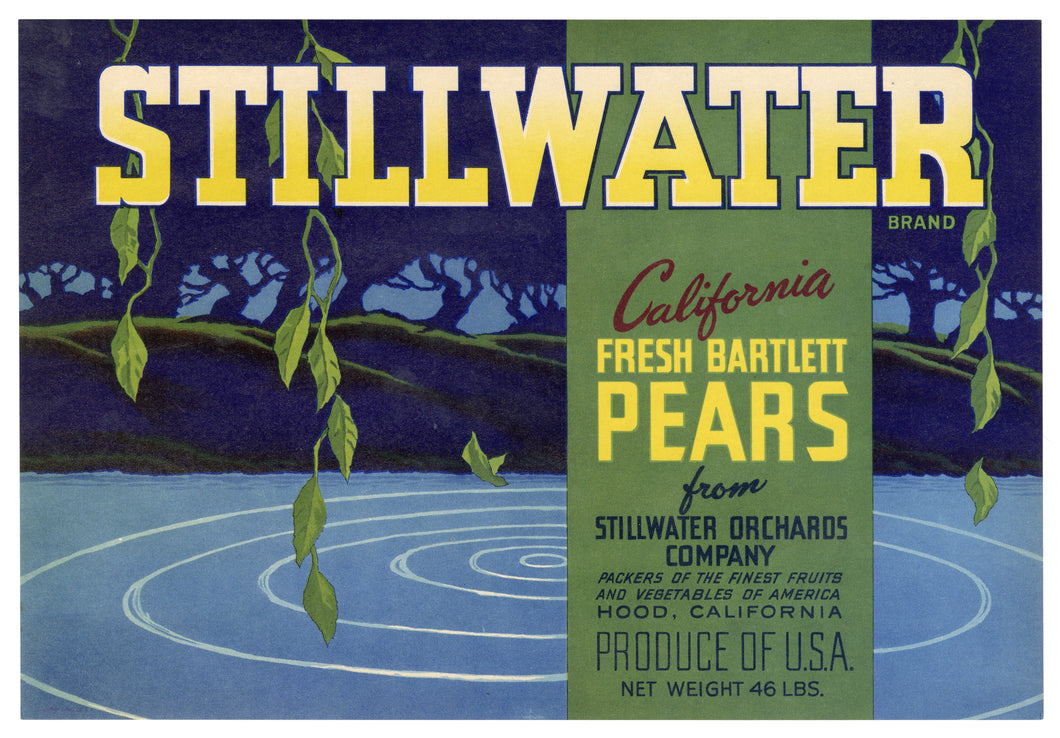 Vintage, Unused STILLWATER Brand Pears Fruit Crate Label || Hood, California