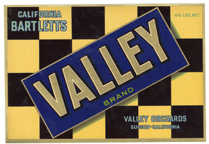 Vintage, Unused VALLEY Brand Pear Fruit Crate Label || Suisun, California