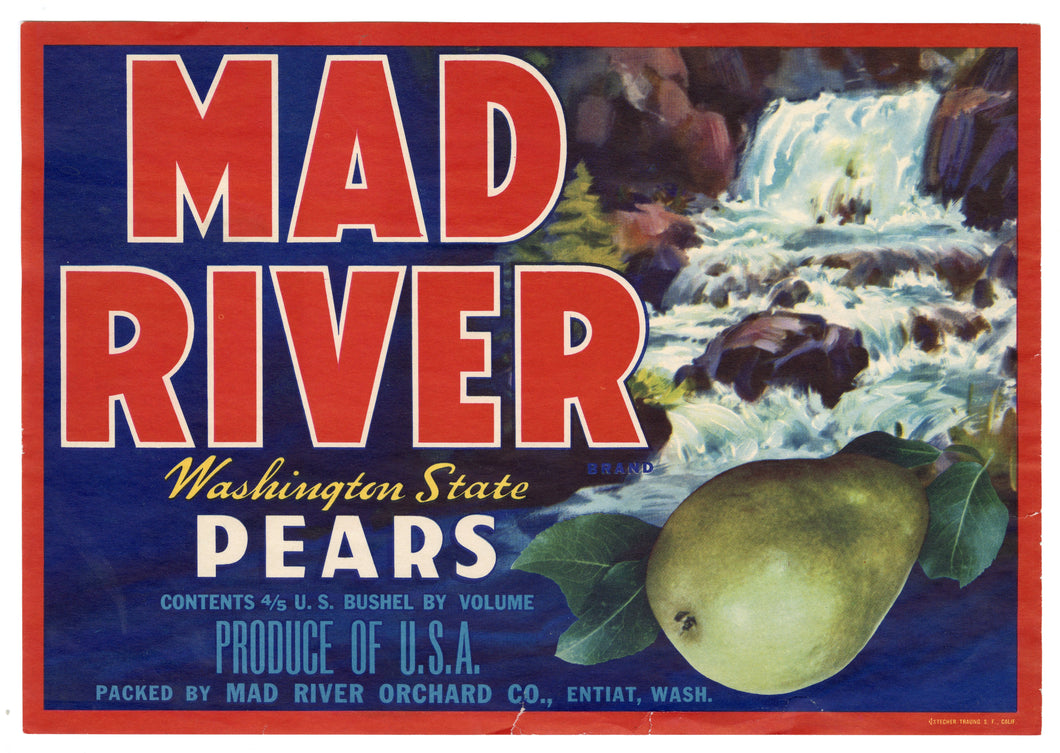 Vintage, Unused MAD RIVER Brand Pear Fruit Crate Label || Etiat, Washington
