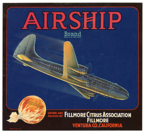Vintage, Unused AIRSHIP Brand Orange Fruit Crate Label || Fillmore, Ventura, Ca.