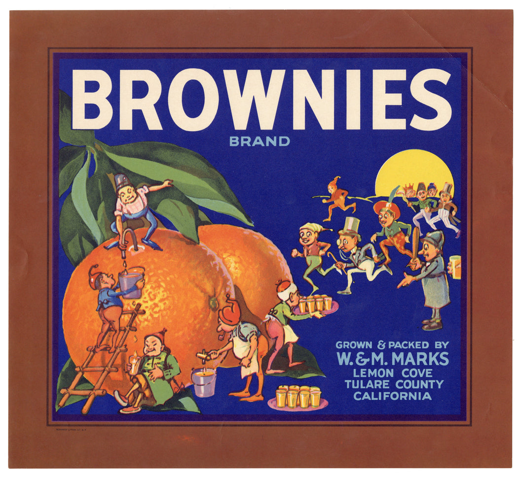 Vintage, Unused BROWNIES Brand Orange Fruit Crate Label || Lemon Cove, Tulare, Ca.