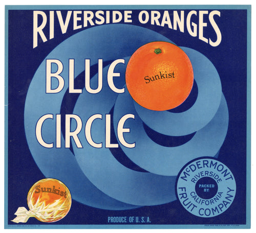 Vintage, Unused BLUE CIRCLE Orange Fruit Crate Label || Riverside, Ca.