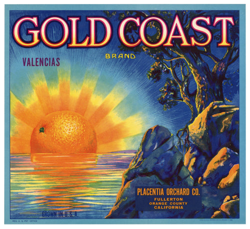 Vintage, Unused GOLD COAST Orange Fruit Crate Label || Fullerton, Ca.