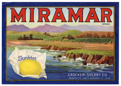 Vintage, Unused MIRAMAR Brand Lemon Fruit Crate Label || Montecito, Santa Barbara, Ca.